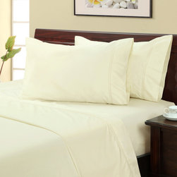 None - Ivory 400 Thread Count Hemstitch Sheet Set - This lovely ivory 400 thread count hemstitch sheet set is constructed of 100-percent cotton and features a 15-inch pocket depth on the fitted sheet with a 360-degree wrapped elastic. The pillowcase and flat sheet have a 4-inch cuff.