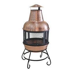 None - Deeco Cape Copper Chiminea - The compact design of the Cape copper chiminea delivers a lot of heat,and with its 360-degree screen allows everyone to enjoy a view of the fire. This unit is just the right size for patios,balconies and porches.