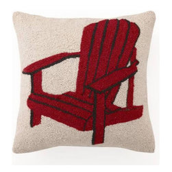 Peking Handicraft - Red Adirondack Chair Hooked Pillow - This beautiful ���Americana collection� pillow will bring an easy and comfortable vibe to any home, cabin or beach house ��� with a pop of color! The front of this charming, Phi-designed pillow is made from hand-hooked, 100% wool, while the back is fashioned from cotton-velveteen fabric. One pull of a sturdy zipper reveals a soft, poly-fill insert. These make lovely gifts! Choose from two colors: Red and Blue.