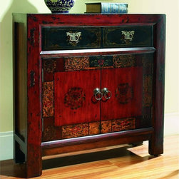 """Hooker Furniture - Asian Hall Chest - White glove, in-home delivery included!  This traditional hall chest features a rich, gesso designer finish with muted antique gold painting on the top drawer and weighty, traditional hardware.  It has one drawer, two doors with one adjustable shelf, and set-in side panels and off-the-floor styling.  Inside cabinet: 33 1/2"""" w x 9 1/2"""" d x 19 1/2"""" h  Inside drawer: 27 5/8""""w x 8 5/8"""" d x 4 1/8"""" h"""