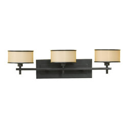 Murray Feiss - Murray Feiss Casual Luxury Bathroom Lighting Fixture in Dark Bronze - Shown in picture: Casual Luxury Vanity Strip in Dark Bronze finish with Bronze Oraganza Fabric on Hard Back Shades