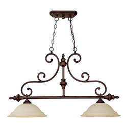 """Capital Lighting - Chandler 2-Light Island Fixture - Burnished Bronze/Mist Scavo - Chandler 2-Light Island Fixture.  Available in Burnished Bronze finish with Mist Scavo glass or Matte Nickel with Faux White Alabaster glass.  Takes two 100W bulbs.  UL Listed.  Rated for Dry locations.  Canopy: 9"""" round.  Chain Length: 10'  Wire Length: 15'"""