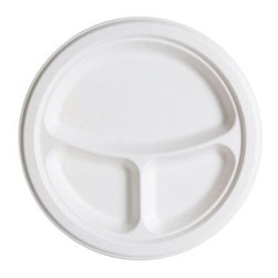 Renewable And Compostable Sugarcane 3 Compartment Plates - 10 Inch - Case Of 500 - 10 inch 3-Compartment Sugarcane Plate