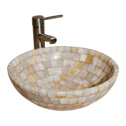 """The Allstone Group - L-VMR-SS-16WS Polished #4 Vessel Sink - Natural stone strikes a balance between beauty and function. Each design is hand-hewn from 100% natural stone.  Allstone mosaic vessel sinks are our only product that is not carved from one single piece of stone.  Onyx was used in Egypt as early as the Second Dynasty to make bowls and other pottery items. Onyx is also mentioned in the Bible at various points, such as in Genesis 2:12 """"and the gold of that land is good: there is bdellium and the onyx stone"""", and such as the priests' garments and the foundation of the city of Heaven in Revelation."""