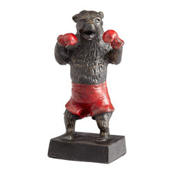 Kathy Kuo Home - Freestyle Bear Boxing Red Shorts Gloves Sculpture - Put up yer dukes and fight like a bear!  This cast iron bear figurine gives Teddy a butch makeover with a vintage- inspired twist.  Perfect for the bachelor pad, child's room or sporty living room.