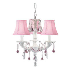 WHITE CHIC CRYSTAL CHANDELIER CHANDELIERS LIGHTING W/ PINK SHADES!