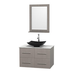"""Wyndham Collection - Centra Bathroom Vanity in Grey Oak,WT  Carrera Top,Arista Black Sink,24"""" Mir - Simplicity and elegance combine in the perfect lines of the Centra vanity by the Wyndham Collection. If cutting-edge contemporary design is your style then the Centra vanity is for you - modern, chic and built to last a lifetime. Available with green glass, pure white man-made stone, ivory marble or white carrera marble counters, with stunning vessel or undermount sink(s) and matching mirror(s). Featuring soft close door hinges, drawer glides, and meticulously finished with brushed chrome hardware. The attention to detail on this beautiful vanity is second to none."""