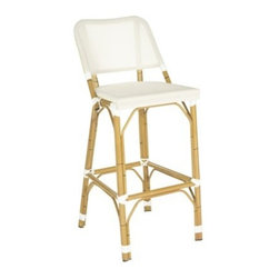 Valence Wicker Patio Bar Stool, Beige - This all-weather wicker patio bar stool is versatile and delightful. I would use it both indoors and out, depending on the occasion.