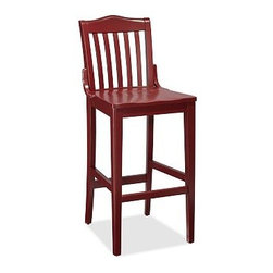 "Stella Barstool, Tall, Red - Designed after a popular early 20th-century style, these updated stools have a weathered finish that works well in the kitchen, dining room or home office. Medium: 18"" wide x 21"" deep x 38.5"" high Tall: 18"" wide x 21"" deep x 44.5"" high Built of solid kiln-dried hardwood. Choice of Antique White, Tuscan Chestnut or Black. Top it with our medium PB Classic Dining Cushion (sold separately), detailed with fabric ties and a hidden zipper. View our {{link path='pages/popups/fb-dining.html' class='popup' width='480' height='300'}}Furniture Brochure{{/link}}."