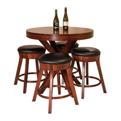 Fusion Designs - Odyssey Counter Height Pub Table Multicolor - ODYP3838 - Shop for Bar and Pub Tables from Hayneedle.com! Whether it's your den or eat-in kitchen the Odyssey Counter Height Pub Table will add plenty of upscale appeal to your home. A blend of contemporary aesthetics and upscale appeal this table makes a bold statement. A striking base design plays up its dramatic look while excellent Amish woodworking ensures years of function.Crafted from responsibly harvested maple hardwood this sturdy counter height pub table sports a beautiful multi-step cherry finish that works well with most settings. Contemporary elegance and long-lasting practical function go hand in hand in this pub table making it the perfect choice for creating countless memories with friends and family. Please note: This item is not intended for commercial use. Warranty applies to residential use only.Care and Maintenance:Because most hardwoods are open grained solid wood furniture can be affected by changes in humidity and temperature even after protective finishes have been applied. Care in controlling the furniture's environment will help minimize the minor cracking and warping that is a natural part of the wood's character.Indoor humidity should be kept in the 35 to 40 percent range to minimize these effects. If the humidity moves out of the ideal range solid wood tabletops can expand or contract causing a gap in the center or at the ends where the two halves meet. This is perfectly normal as moisture is absorbed through end grains of wood causing more movement on the ends of the table than in the center. Through change of seasons these changes will occur according to humidity levels. Additionally direct sunlight and fluorescent fixtures that contain ultra-violet rays can cause chemical changes in the wood and finish and should be avoided. Furniture should also be kept away from direct sources of heating and cooling and out of attic or basement storing environments. With proper care so