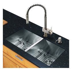 Vigo - All in One 32in.  Undermount Stainless Steel Double Bowl Kitchen Sink and Faucet - Create an inviting new look in your kitchen with a VIGO All in One Kitchen Set featuring a 32in.  Undermount kitchen sink, faucet, soap dispenser, two matching bottom grids and two sink strainers.