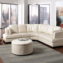 Coaster Cream Leather Sectional Sofa Set Corner Couch Modern Living - This sleek and contemporary sectional sofa with bonded leather seating is perfect for any large living room. With its curved frame, fiber filled back cushions and pocket coil seating, the Landen collection is sure to accommodate your guests. Add more seating for your guests with matching ottoman set.