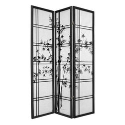 Oriental Furniture - 6 ft. Tall Double Cross Bamboo Tree Shoji Screen - Black - 3 Panels - This Japanese-inspired folding Shoji Screen features a beautiful bamboo print and an elegant double cross wood frame. Shoji paper is renowned for providing privacy without blocking ambient light, and ours is fiber-reinforced for added durability. This decorative screen is perfect for partitioning a room, adding privacy, or displaying as a sophisticated art piece.