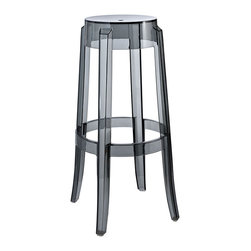 Modway - Casper Bar Stool in Smoke - The silhouette-inspired design of this bar stool is a sure attention grabber that coordinates with any color scheme. Constructed from transparent acrylic, this stunner includes non-marking feet that both help protect sensitive floors and stabilize the stool.