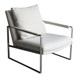 Zara Lounge Chair in Ivory Fabric -