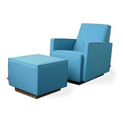 "Gus Modern - Gus Modern Kipling Glider, Muskoka Surf - The charm of children's building blocks grows up and goes way upscale. This glider is guaranteed to be your favorite seat in the house, with its silent gentle rocking motion, stylish French seams and ergonomic design. Add the ottoman (shown) and say, ""Ahhhh!"""
