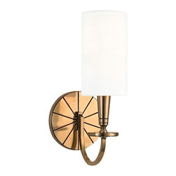 Hudson Valley Lighting - Mason 8021 Wall Sconce by Hudson Valley Lighting - Frontier spirit gets a modern facelift with the Hudson Valley Mason 8021 Wall Sconce. A round wall plate features a wagon-wheel spoke motif, but the look is miles past the old dusty trail. Slick finishes, a machined candleholder and crisp cylindrical White Faux Silk shade cements this fixture firmly in the current age, reflecting the geometric purity prized in mid-century modern design. Hudson Valley is known for their strong traditional, vintage, reproduction and contemporary lighting. Offering the same attention to detail that was evident during the early twentieth century, Hudson Valley boasts a range of classic finishes and glass selections that will surely satisfy even the most discriminating customer.