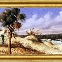 """William Aiken Walker-14""""x28"""" Framed Canvas - 14"""" x 28"""" William Aiken Walker Florida Seascape with Sand Dune, Palm Tree, and Steamship framed premium canvas print reproduced to meet museum quality standards. Our museum quality canvas prints are produced using high-precision print technology for a more accurate reproduction printed on high quality canvas with fade-resistant, archival inks. Our progressive business model allows us to offer works of art to you at the best wholesale pricing, significantly less than art gallery prices, affordable to all. This artwork is hand stretched onto wooden stretcher bars, then mounted into our 3"""" wide gold finish frame with black panel by one of our expert framers. Our framed canvas print comes with hardware, ready to hang on your wall.  We present a comprehensive collection of exceptional canvas art reproductions by William Aiken Walker."""