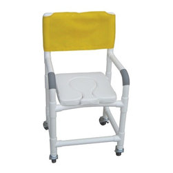 "MJM International - Standard Deluxe Shower Chair with Dual Use Soft Seat and Optional Accessories - Features: -Soft seat deluxe dual usage with removable center section. -Fast drying mesh back. -Manufactured of healthcare grade PVC pipe and fittings. -Contoured frame, no sharp edges, to avoid skin breaks during transfers. -Reinforced at all stress related areas. -Deluxe elongated open front seat ideal for both male and female. -Needs heavy duty threaded stem casters. -2 lock and 2 non lock 3"" casters for easy maneuverability and transferring. -Anti-slip safety hand grips. -Rust proof casters. Specifications: -Internal Width: 18"". -External Width: 22"". -Seat Height: 21"". -Threaded Stem Casters: 3"" x 1 1/4"". -Weight Capacity: 300 lbs. -Overall Dimensions: 40"" H x 22"" W x 18"" D."