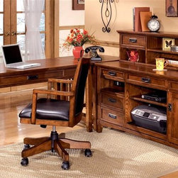 Signature Design by Ashley - 5 Pc Office Set w Credenza, Table & Return - Set includes: Large Credenza, Corner Table, Large Low Hutch, Large Leg Desk, and Arm Chair. Color/Finish: Dark Oak Stained. Traditional mission styling with a medium brown oak stained finish. Constructed with oak veneers and hardwood solids. Desk hutch features light and closed storage. Modular desk has laptop drawer w/ internet port and electrical outlet. Pull-out keyboard tray is covered with black PVC for durabilityDimensions:. Large Credenza: 61 in. W x 22 in. L x 30 in. H. Corner Table: 28 in. W x 22 in. L x 30 in. H. Large Low Hutch: 58 in. W x 10 in. L x 14 in. H. Large Leg Desk: 60 in. W x 28 in. L x 30 in. H. Arm Chair: 21 in. W x 21 in. L x 38 in. H