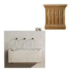 Campania International - X-3 Fountain- Travertine (TR) - The X3 Fountain (FT-123) from Campania International is a great modern trough fountain. The three spigots give a pleasant cascading water sound. The bird statuary is not attached to the fountain but is included. Made of cast stone. Pump included. 504 lbs. Main picture shows Greystone (GS)