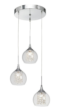 "Possini Euro Design - Encircled Crystal Globe 12"" Wide Halogen Multi Light Pendant - This set of three mini pendants has a modern look that's easy to clean and unquestionably hip. A chrome finish covers the canopy and hardware. Crystal strings are positioned neatly to surround and reflect the central halogen light while a clear glass rounded shape envelops the crystal. From the Possini Euro Design pendant collection. Chrome finish. Faceted crystal strings. Clear glass. Includes three 20 watt halogen bulbs. Adjustable up to 40"" maximum hanging height. Each shade is 6"" wide and 7"" high. Canopy is 12"" wide. Comes with electronic transformer. Weighs 6 lbs.  Chrome finish.   Clear glass.   By Possini Euro Design.  Includes three 20 watt halogen bulbs.   Each shade is 6"" wide and 7"" high.  Canopy is 12"" wide.  Adjustable up to 40"" maximum hanging height.  Comes with electronic transformer.  Weighs 6 lbs."