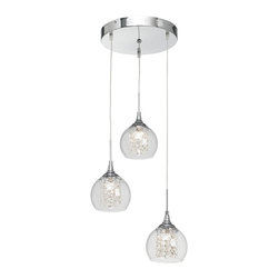 """Possini Euro Design - Encircled Crystal Globe 12"""" Wide Halogen Multi Light Pendant - This set of three mini pendants has a modern look that's easy to clean and unquestionably hip. A chrome finish covers the canopy and hardware. Crystal strings are positioned neatly to surround and reflect the central halogen light while a clear glass rounded shape envelops the crystal. From the Possini Euro Design pendant collection. Chrome finish. Faceted crystal strings. Clear glass. Includes three 20 watt halogen bulbs. Adjustable up to 40"""" maximum hanging height. Each shade is 6"""" wide and 7"""" high. Canopy is 12"""" wide. Comes with electronic transformer. Weighs 6 lbs.  Chrome finish.   Clear glass.   By Possini Euro Design.  Includes three 20 watt halogen bulbs.   Each shade is 6"""" wide and 7"""" high.  Canopy is 12"""" wide.  Adjustable up to 40"""" maximum hanging height.  Comes with electronic transformer.  Weighs 6 lbs."""