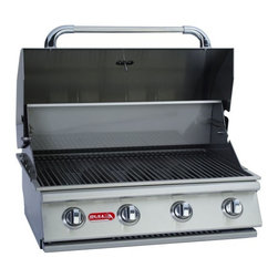 Bull - 4-Burner 30'' SS Built-In Gas Barbecue Grill, Natural Gas - This is an Island Component grill. Installation required. The Outlaw grill is a 4-Burner 30 Stainless Steel Built-In Gas Barbecue Grill. - 60,000 BTU's -304 Stainless Steel Construction -4 Porcelain Coated Bar Burners -Single Piece Dual Lined Hood -Piezo igniters/Zinc Knobs -Solid Stainless Steel Grates -Heavy Duty Thermometer -Warming Rack 210 Sq. in.-Smoker Box -Cooking Surface 810 Sq. in.-CSA Approved