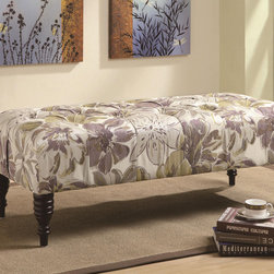 Coaster - Coaster Floral Fabric Bench - Featuring a padded seating, a lovely fabric with the floral pattern in soft pastel colors and elegant turned cappuccino legs, this traditional accent bench by Coaster Co is a great seating solution for any living room or bedroom. Floral fabric comes in purple, off-white and green tones.