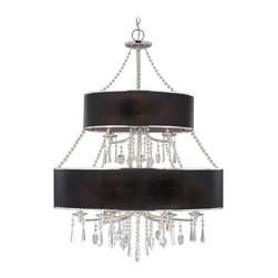 Golden Lighting - Echelon 9-Light Chandelier - This radiant chandelier makes quite the grand statement in your space. Featuring two tiers of fabulous, beaded strands and glass embellishments dripping from the dual bases.