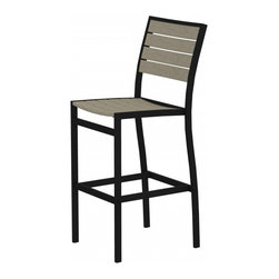 PolyWood - Euro Bar Height Side Chair - You won't miss any of the view in this tall, sleek bar height side chair. Polywood furniture is constructed of solid Polywood recycled lumber that's available in a variety of attractive, fade-resistant colors. It won't splinter, crack, chip, peel or rot and it never needs to be painted, stained or waterproofed. It's also designed to withstand nature's elements as well as to resist stains, corrosive substances, insects, fungi, salt spray and other environmental stresses. Best of all, Polywood furniture is made in the USA and backed by a 20-year warranty. Ships within 10 Business Days