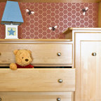 Beehive Allover Furniture Stencil - Beehive Allover Furniture Stencil from Royal Design Studio Stencils. This adorable hand painted honeycomb pattern with coordinating bees adds a touch of whimsy to nursery furniture but it could also be used on walls in children's rooms and bathrooms, It would also be fun in craft rooms and kitchens.