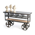 Vintage Industrial Style Reclaimed Wood Merchandise Console Table Cart - Industrial chic never looked so inviting than with this charming steel, wire and reclaimed wood cart. This vintage-inspired piece provides innovative storage, as well as a sleek way to display your favorite items or act as a work surface.