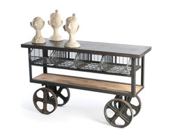Kathy Kuo Home - Vintage Industrial Style Reclaimed Wood Merchandise Console Table Cart - Industrial chic never looked so inviting than with this charming steel, wire and reclaimed wood cart. This vintage-inspired piece provides innovative storage, as well as a sleek way to display your favorite items or act as a work surface.