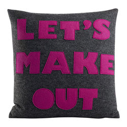 alexandra ferguson llc - 'Let's Make Out' Pillow, Charcoal/Fuchsia - Show your confidence with this direct pillow that gets right to the point. What could be sexier than that? MADE IN THE USA