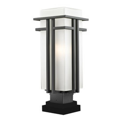 Z-Lite - Bronze Abbey 1 Light Outdoor Pier Mount Light with Matte Opal Shade - The geometric lines of the Abbey family combine well with contemporary home styling as well as homes in the craftsmen style. This large outdoor pier mount fixture is made of steel and finished in oil rubbed bronze with matte opal glass.