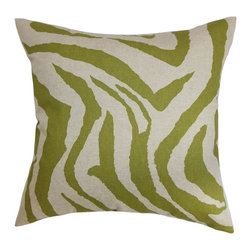 """The Pillow Collection - Dristi Zebra Print Pillow Olive Linen 20"""" x 20"""" - If you're a fan of animal prints, you'll surely love this decor pillow. The bold and striking zebra pattern adds texture to your living room or bedroom. This square pillow features a soothing color palette with shades of green and white. Toss this 20"""" pillow on any furniture to add a contemporary touch. Made of 100% plush and soft cotton material. Hidden zipper closure for easy cover removal.  Knife edge finish on all four sides.  Reversible pillow with the same fabric on the back side.  Spot cleaning suggested."""