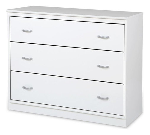 South Shore - 3-Drawer Chest in White - Accessories not included. Non-toxic laminated particle boards. Attractive plastic handles with a gray metallic finish. Metal drawer slides, for smooth gliding. Warranty: Five years limited. Made in Canada. Assembly required. 39.5 in. W x 17 in. D x 31.5 in. H (78 lbs.). Assembly InstructionsModules in our Mobby collection let you create a practical yet pleasant room thats customized for your little treasure. This chest gives you a place to store clothes and you can save space by putting it under the loft bed!