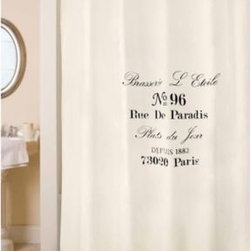 Park B. Smith - Park B. Smith Brasserie 72-Inch x 72-Inch Shower Curtain - A subtle shade of ecru is enhanced with an address in a lovely script font in black that beckons you to enjoy the daily specials that await you at the brewery located at number 96 Rue de Paradis in Paris.