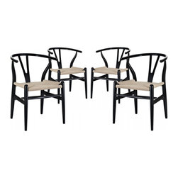 Modway Imports - Modway EEI-1320-BLK Amish Dining Armchair Set of 4 In Black - Modway EEI-1320-BLK Amish Dining Armchair Set of 4 In Black