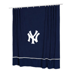 Sports Coverage - MLB New York Yankees Baseball Bathroom Accent Shower Curtain - Features: