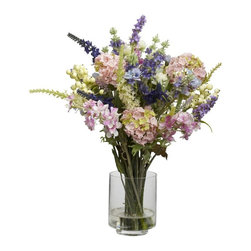 Lavender and Hydrangea Silk Flower Arrangement - Picking the best samples from a cornucopia of choices, this Lavender and Hydrangea Arrangement is a delight of pastel and cream colors. Reaching 16 inches high and then spreading outward, this bountiful collection of flowers is the perfect addition to any home or office. Comes with a clear vase with liquid illusion, and they look so real, you'll have people asking to see your garden. Height= 16 in x Width= 13 in x Depth= 13 in