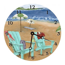"""Beach Scene Round Wall Clock, 10"""" - The Beach Scene round clock is the perfect size for any wall. Great in the kitchen, bathroom, or kids room."""