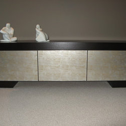 Furniture pieces by Nexs - Rift cut oak with Italian glass drawer fronts. Push to open hardware.
