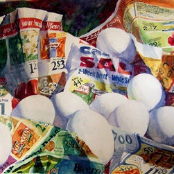 Bargain Shopper Artwork - Original watercolor painting on 260 lb Arches Hot Press Watercolor Paper. The painting is signed on front, bottom left corner. It reflects the artist's interest in capturing the most ordinary events in life. She especially enjoyed contrasting the white eggs against the colorful ads. This painting is double matted with 3in. off-white mats. The finished size is 22in. x 26in..