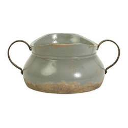 Calista Short Bowl with Metal Handle - A pale aqua rustic full bodied ceramic bowl has a natural quality like a handmade collectible piece from ancient civilizations. This piece is highly versatile and well suited for a variety of decor.
