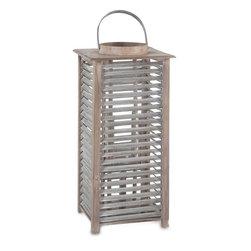 #N/A - Almonda (large) - Almonda (large). Light Wood And Galvanized Metal Lantern With Glass Candle Holder