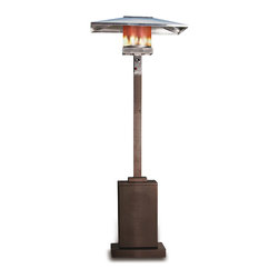 Paramount - Square Bronze Propane Patio Heater - This patio heater is the perfect way to extend your backyard entertaining season. This unique unit produces 46,000 BTUs using a standard 20lb propane tank (not included) and includes wheels for easy mobility. The stylish bronze color and modern square design perfectly accent and enhance your patio decor. This handsome CSA approved patio heater includes tip over protection for added safety and a reliable Piezo ignition.