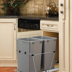 None - Rev-A-Shelf Double 35-Quart Waste Containers - Keep your home clean with these 35-quart waste containers. These waste containers feature a removable handle made of chrome wire and ball-bearing sides for easy handling. This set is quick and easy to install, requiring only four screws.
