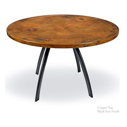 "Mathews & Company - Chanal Dining Table with 48"" Round Top - Our overview of the new Chanal Dining Table Base Only is on its way but you can still purchase this wonderful piece for your home today. Pictured in Copper top and Black finish."